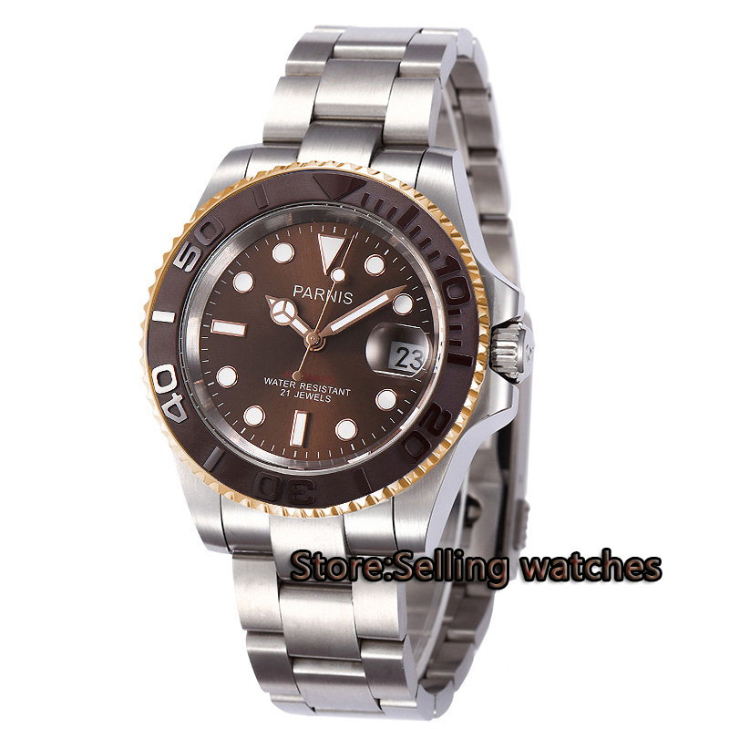 40mm Parnis coffee dial luminous Sapphire glass coffee ceramic bezel MIYOTA Automatic movement Men's watch цена