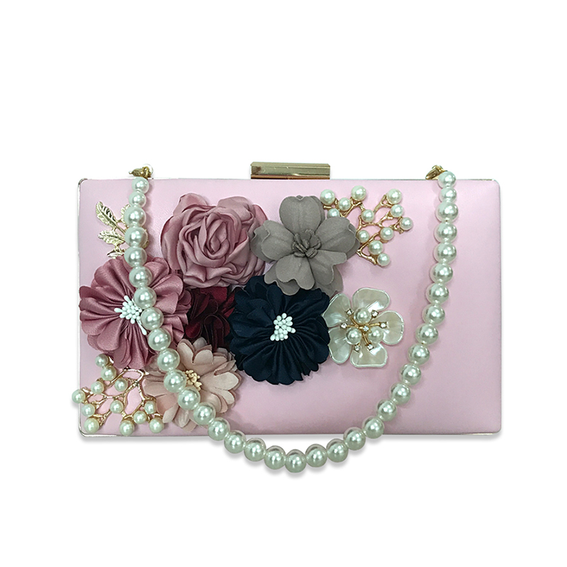 Fashion Flowers Lady Evening Clutch Bags Appliques Pattern Chain Women Shoulder Bags Luxury Pearl Party Wedding Purses Handbag
