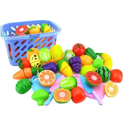 23Pcs Kid Pretend Role Play Children Education Boys Girls Kitchen Fruit Vegetable Toy Child Wooden Cutting Set T