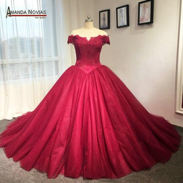 38e54298d9b Off the shoulder puffy princess red wedding dresses actual photos amanda  novias