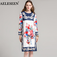 AELESEEN HOT SALE Luxury Runway Dress Designer Vase & Flower Printed Women Vintage 2018 Autumn Loose Long Sleeve Dress