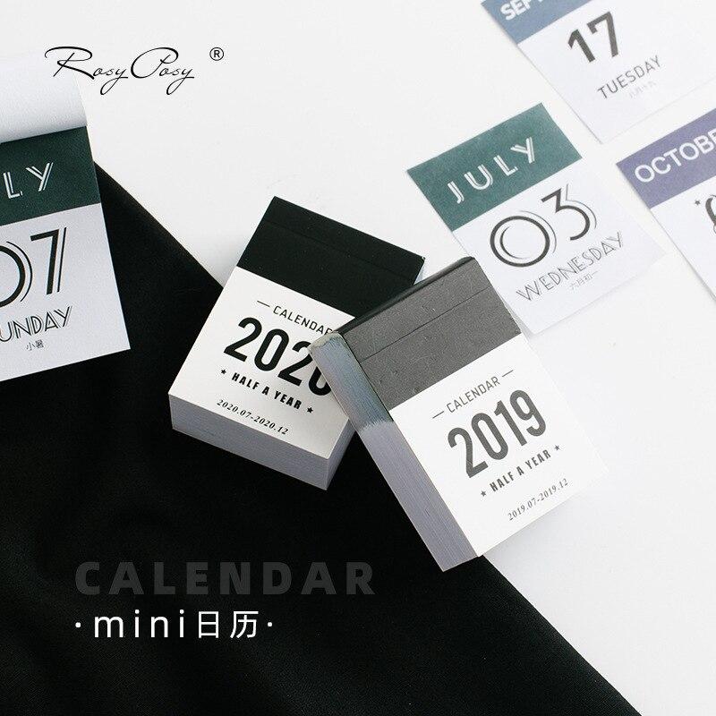2019 2020 lindo Calendario de medio año Mini Calendario de escritorio oficina trabajo Horario de aprendizaje planificador periódico papelería