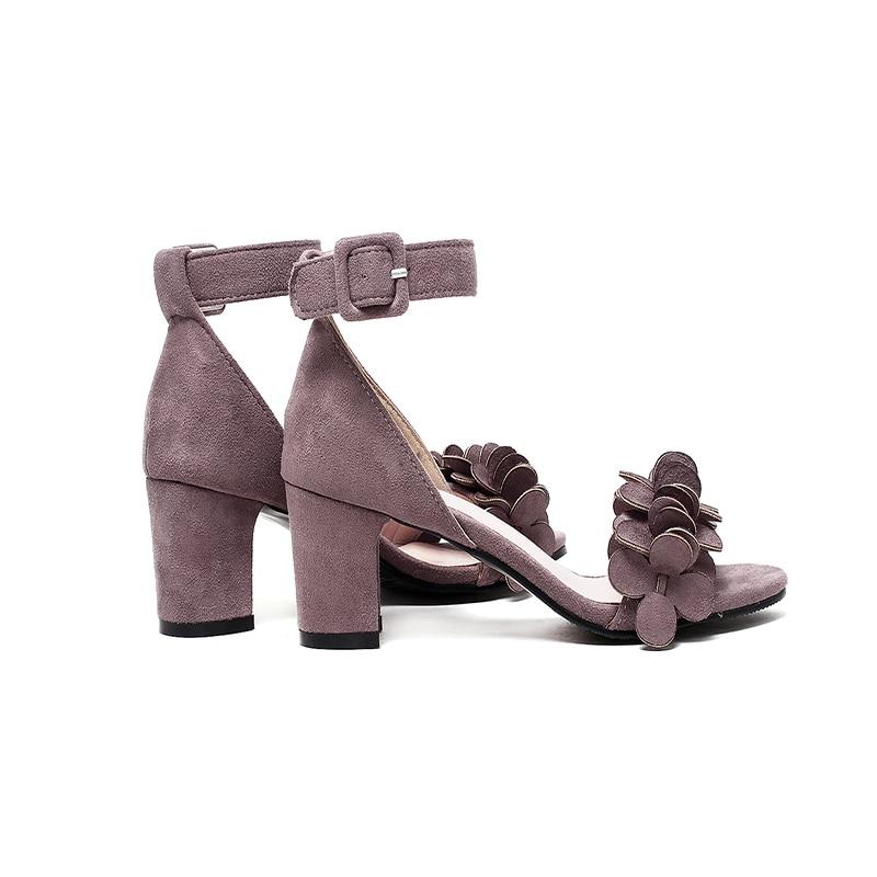 d8d364f20063 HAIOU Brands New 2017 Purple Women s Peep Toe Shoes Low Heels Rome Elegant  Sandals Black Women Square Heel Party Sandals Flowers-in Women s Sandals  from ...