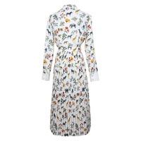 VERDEJULIAY Laides Dresses 2019 Summer Fashion Runway Long Sleeve Turn Down Collar Animal Printed Pleated Elegant Dress Women