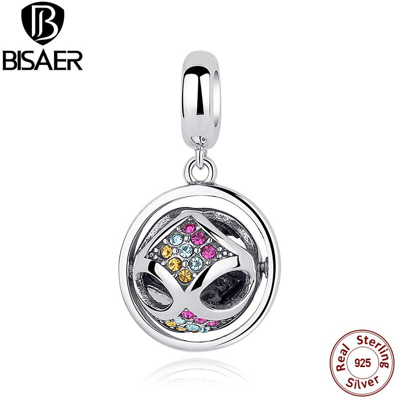 Spring Collection 925 Sterling Silver Color Crystals round pendant Charms Fit BISAER Bracelet Women Fashion Jewelry ECC025
