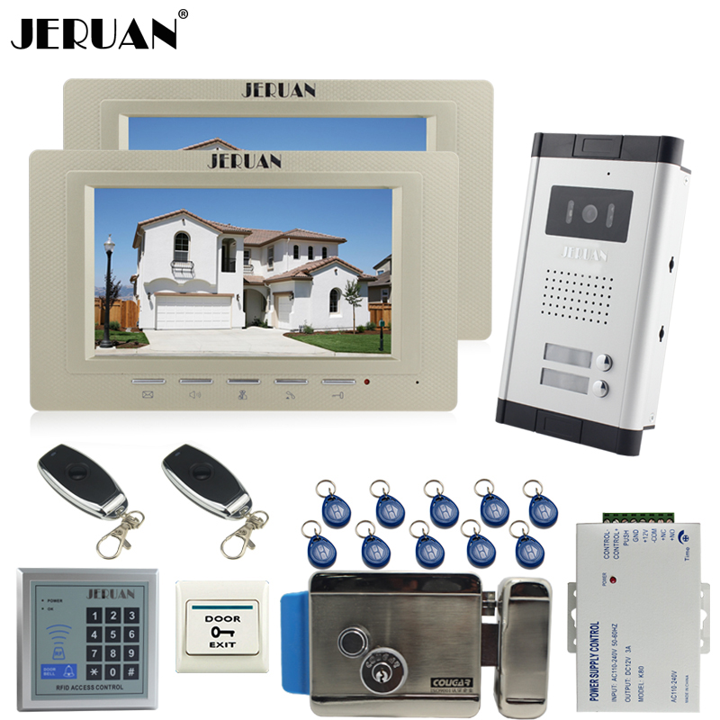 JERUAN 7 inch color video door phone 2 Golden Monitor 1 HD Camera Apartment 1V2 Doorbell+RFID Access Control+FREE SHIPPING jeruan apartment 4 3 video door phone intercom system kit 2 monitor hd camera rfid entry access control 2 remote control