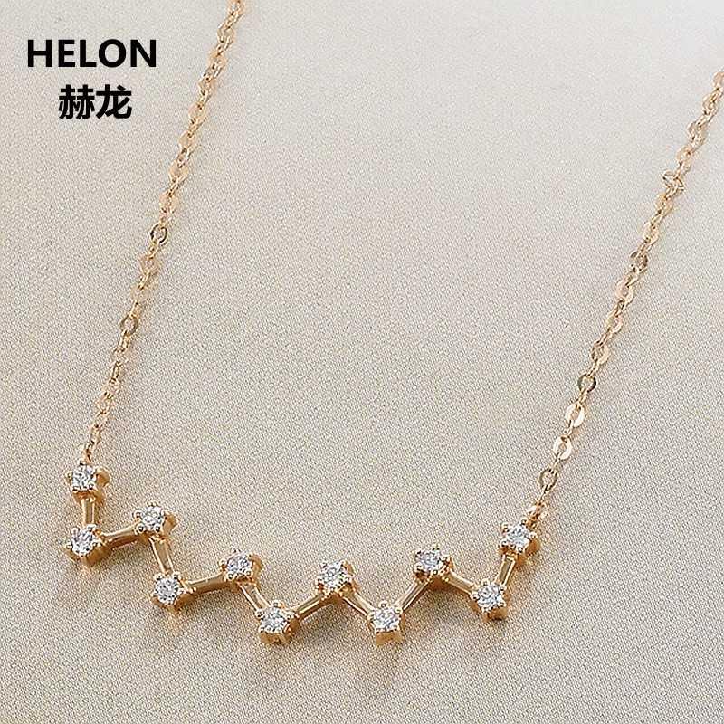 0.17ct SI/H Full Cut Natürliche Diamanten Frauen Anhänger Halskette Solide 18 k Rose Gold Trendy Halskette