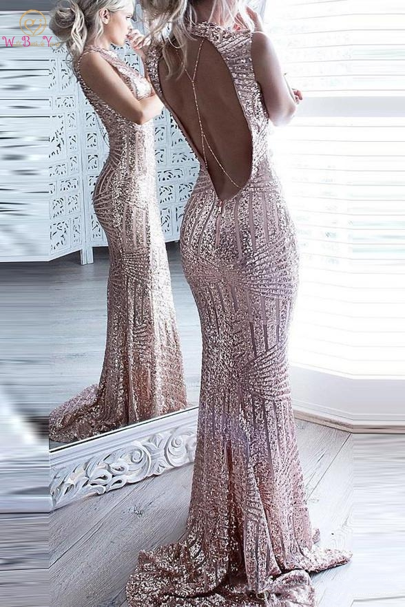Shiny Rose Pink   Evening     Dresses   2019 Sexy Sequined Mermaid Backless Prom   Dresses   Keyhole Long Women Formal Party Abendkleider