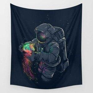 Image 2 - CAMMITEVER Dropshipping aslan kuş gözü çiçek astronot goblen renkli goblen duvar asılı baskılı dekorasyon