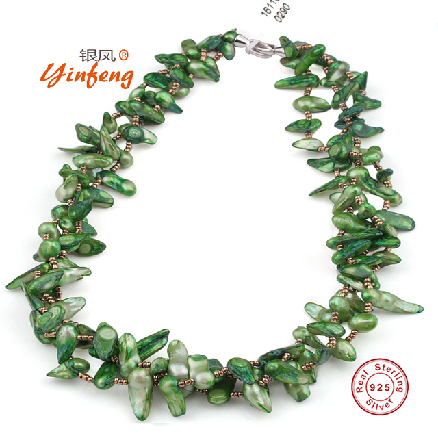 [Yinfeng] Baroque color pearl necklace green/red/brown 3 colors 925 sterling silver jewelry good for party gift box