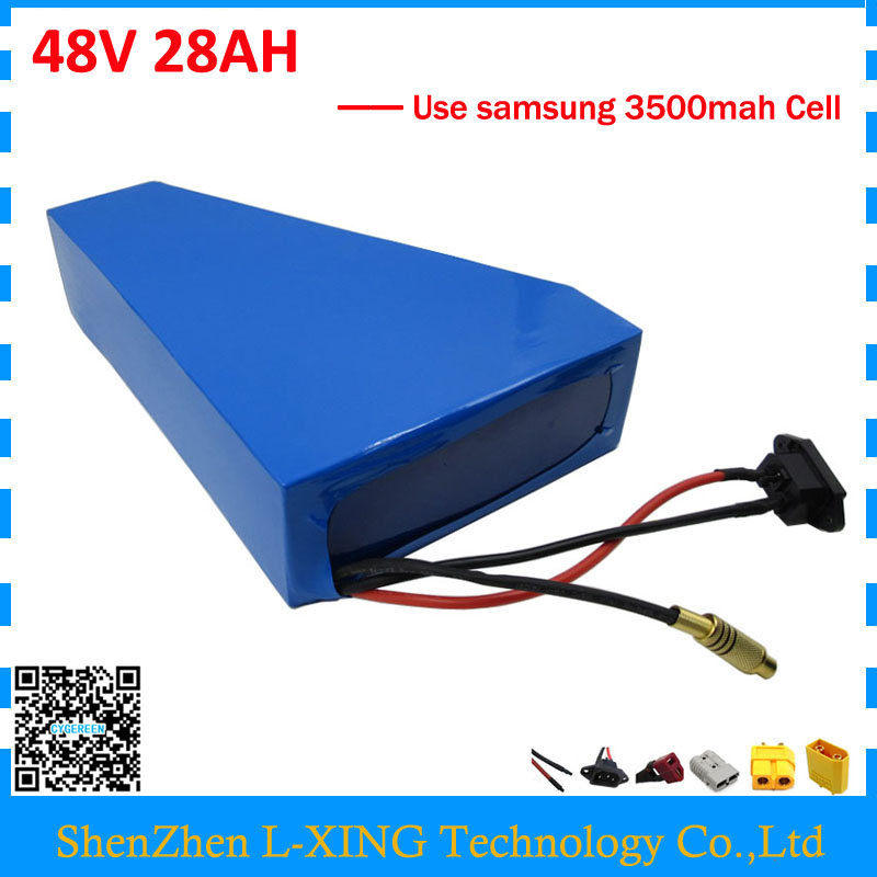 Free customs duty 48V 28AH triangle battery 2000W 48V lithium-ion battery use Samsung 3500mah cell 50A BMS 2A Charger free customs duty 1000w 48v battery pack 48v 24ah lithium battery 48v ebike battery with 30a bms use samsung 3000mah cell