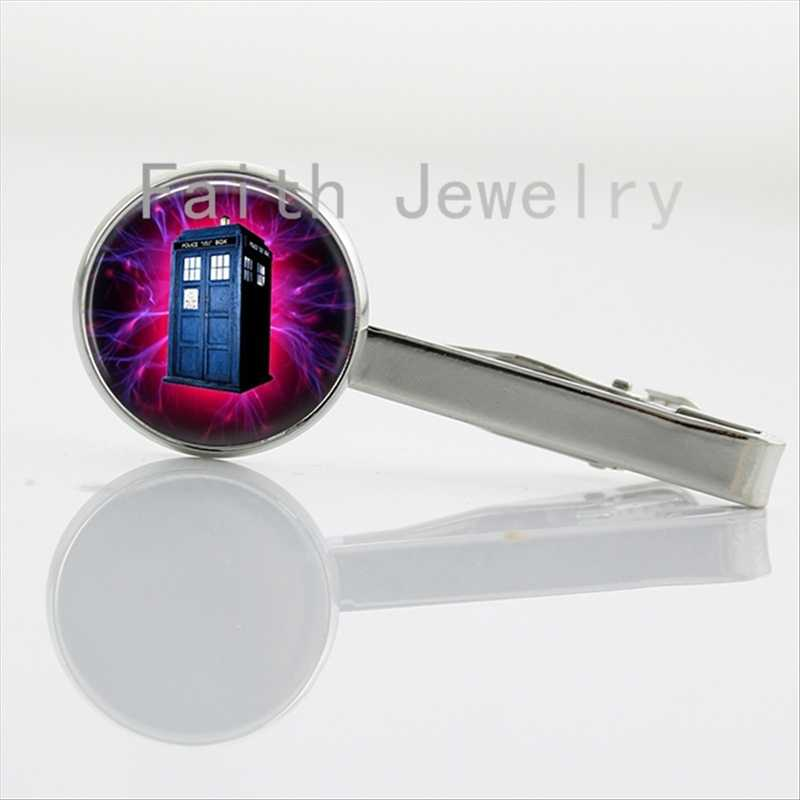 Time travel case for Doctor Who Inspired Rotary Phone Tardis tie clips glass cabochon time ship art picture tie bar men NS042