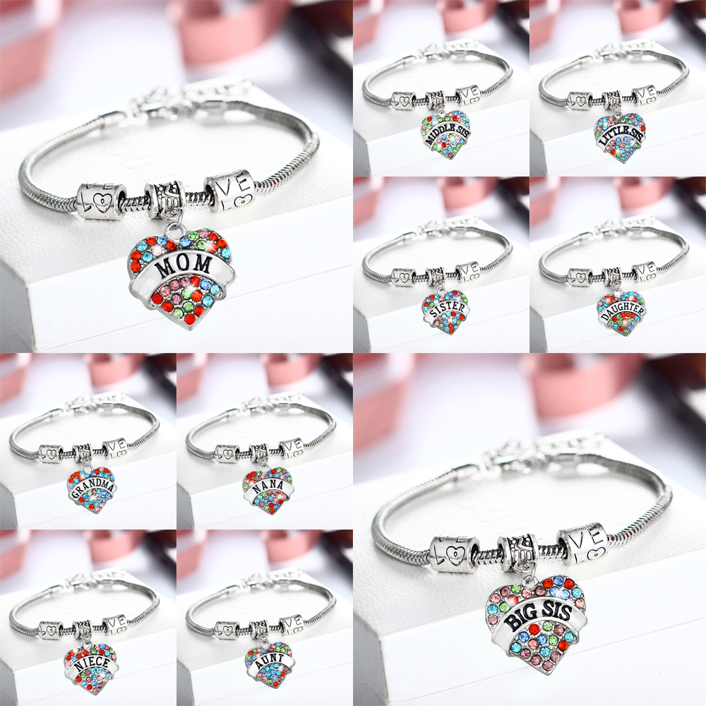 Bespmosp Vintage Colorful Bracelet Crystal Heart NANA Sister Sis Mom Bracelets Bangles For Women Men Gifts Hand Fashion Jewelry
