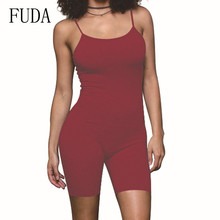 FUDA Women Summer Sexy Bodycon Bandage Jumpsuits Casual Sleeveless Party Club Mini Spaghetti Strap Playsuits Rompers for Female