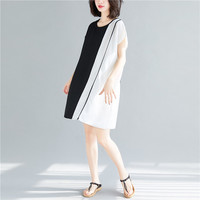 2019 new summer color dress loose literary retro contrast color stitching dress comfortable skin dresse's hh144