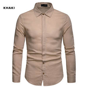Dress Shirt Society Business Casual Fashion Solid Single-Breasted New Masculina Linen