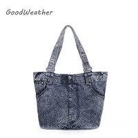 Promotion casual tote bag for women designer blue denim shoulder bags portable large capacity weekend handbag for travel