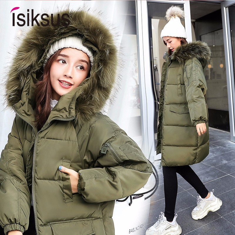 Isiksus Padded Warm Down Jacket Womens Winter Long Black 2018 Hooded Coats And Jackets   Parka   With Fur Collar For Women WP009