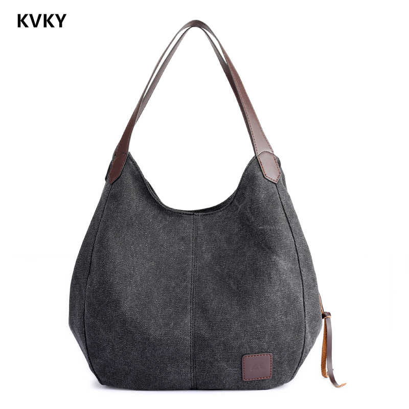 2018 New High Quality Female Hobos Single Shoulder Bags Women's Canvas Handbags Vintage Solid Multi-pocket Ladies Totes Bolsas high quality travel canvas women handbag casual large capacity hobos bag hot sell female totes bolsas ruched solid shoulder bag