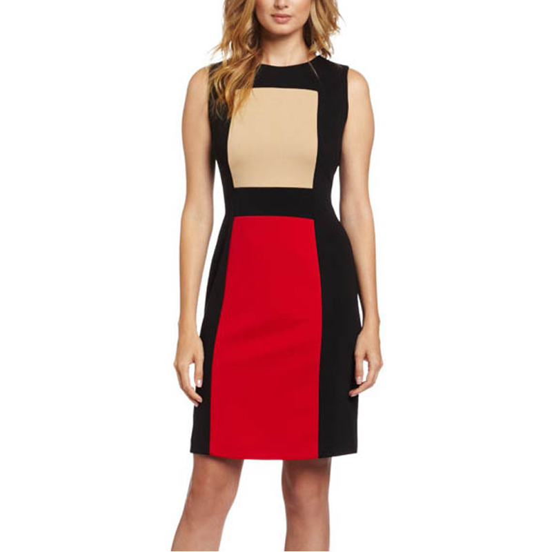 Aamikast Official Store AAMIKAST Newest Popular Patchwork Color Bodycon Pencil Knee-Length Dresses, Women Elegant Empire Waist Dress Free Shipping
