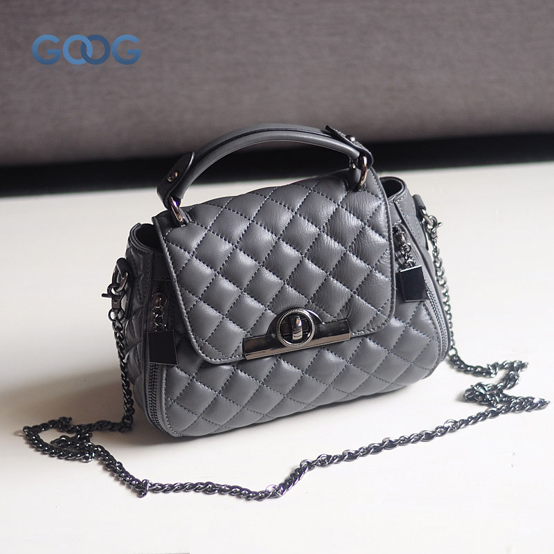Europe and the United States classic sheepskin checkered chain tide package leather handbags fashion casual shoulder Messenger b europe and the united states classic sheepskin checkered chain tide package leather handbags fashion casual shoulder messenger b