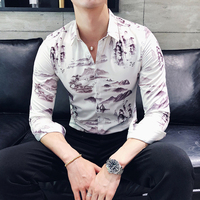 Chinese Style Tuxedo Fashion 2018 Autumn New Landscape Painting Print Men Shirt Long Sleeve Slim Fit Casual Social Shirts Male