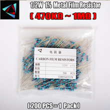 1/2W Watt 1% (200pcs/lot) Metal Film Resistor  470K 510K 560K 620K 680K 750K 820K 910K 1MOhm