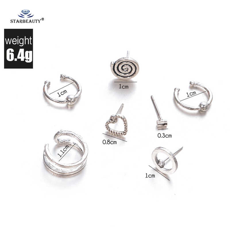 7 pcs/lot Hot Round Twisted Heart Fake Piercing Helix Piercing Tragus Fake Nose Ring Pircing Earrings Alloy Ear Cuff Ear Jewelry