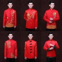 Chinese Red Wedding Bridegroom Jacket Man Tunic Tang Costume Chinese Traditional Dress Dragon Men Cheongsam Top Costume 90(China)