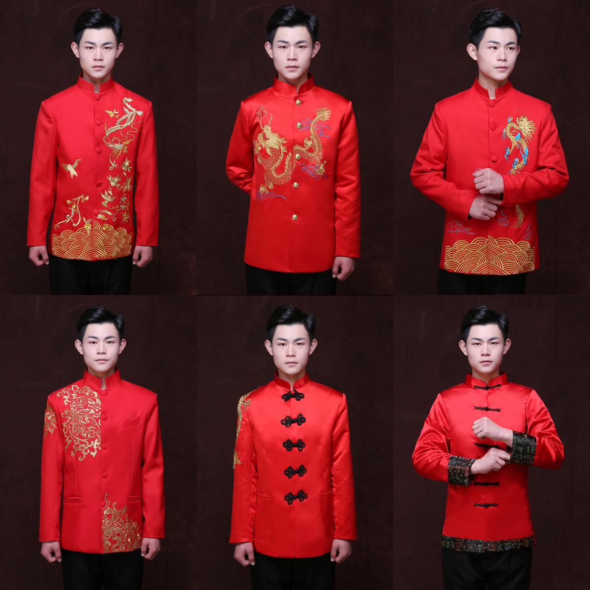 Chinois rouge mariage marié veste homme tunique Tang Costume chinois traditionnel robe Dragon hommes Cheongsam Top Costume 90