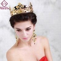 High End Elegant Baroque Crystal Bride Crown Earring Set Fashion Trend Vintage Headwear Hot Selling Graceful