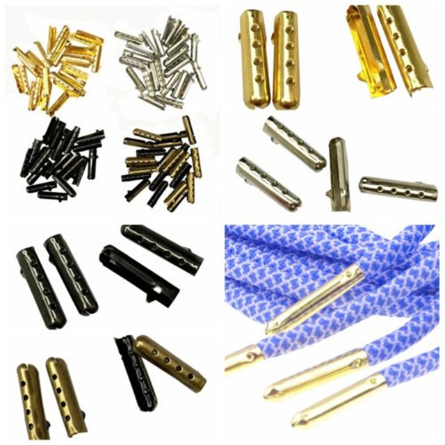 YJSFG HOUSE 100Pcs 1 set 4x23mm Shoelace Tip Aglet Ends Bullet Metal Lock Clips DIY Replacement Shoe Lace Silver, Gold