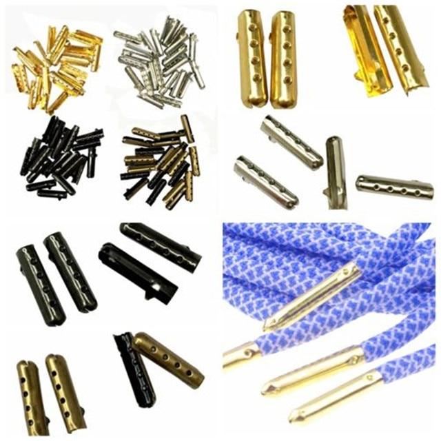 YJSFG NHÀ 100 Pcs 1 bộ 4x23mm Dây Giày Tip Aglet Kết Thúc Bullet Kim Loại Khóa Clip TỰ LÀM Thay Thế giày Ren Bạc, vàng
