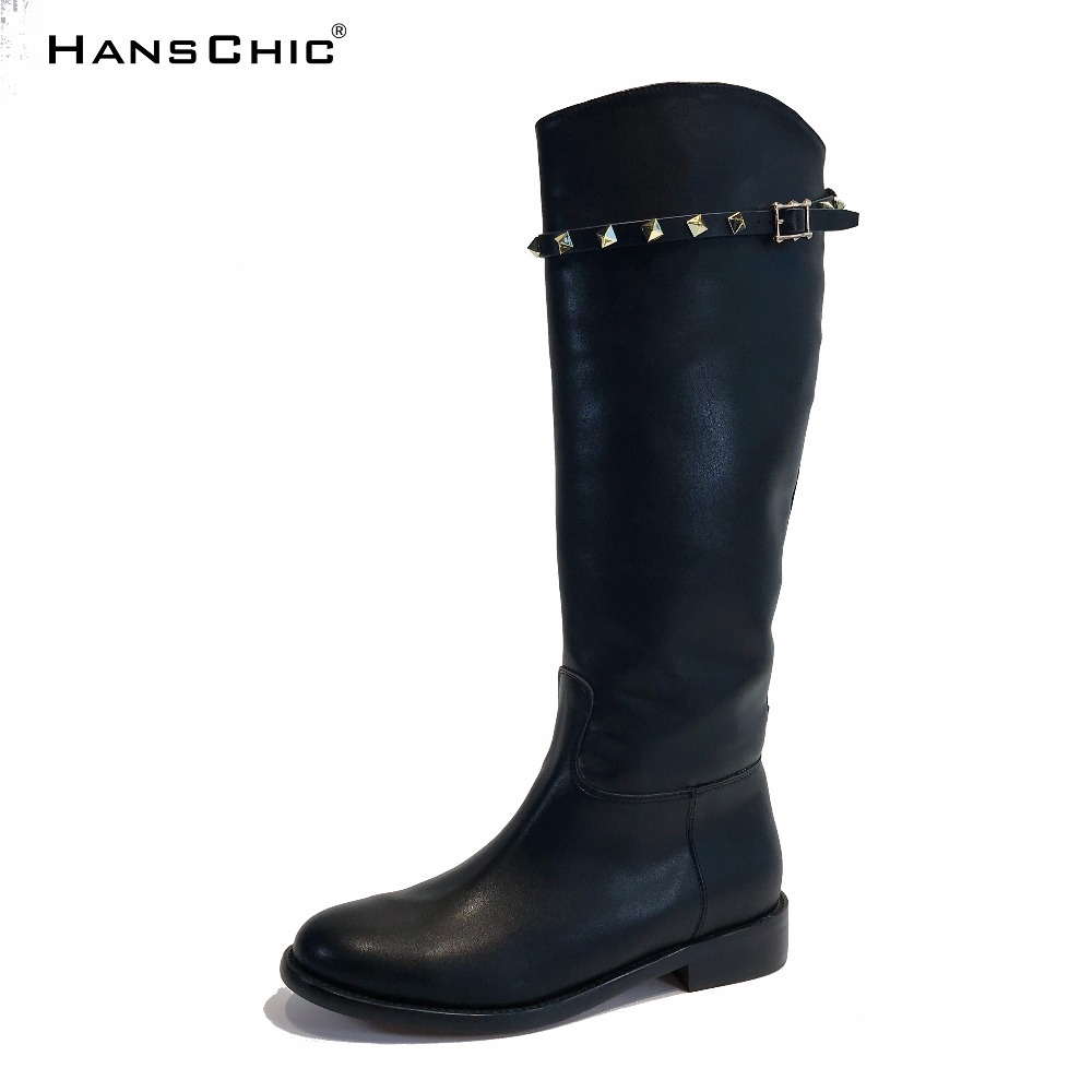 HANSCHIC 2017 New Arrival Winter Special Rivets Design Black Leather Ladies Women Knee High Casual Boots for Female 1036 hanschic 2017 new arrival winter special rivets design black leather ladies women knee high casual boots for female 1036