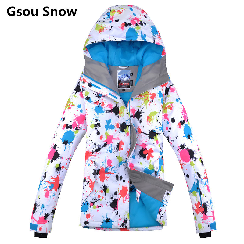 Gsou Snow brand winter colorful snowboard ski jacket women ski suit female jas vrouwen chaqueta de snowboard de ski mujer 2017 gsou ski jacket women snowboard winter snow jacket skiwear ski jas heren clothes esqui warm waterproof