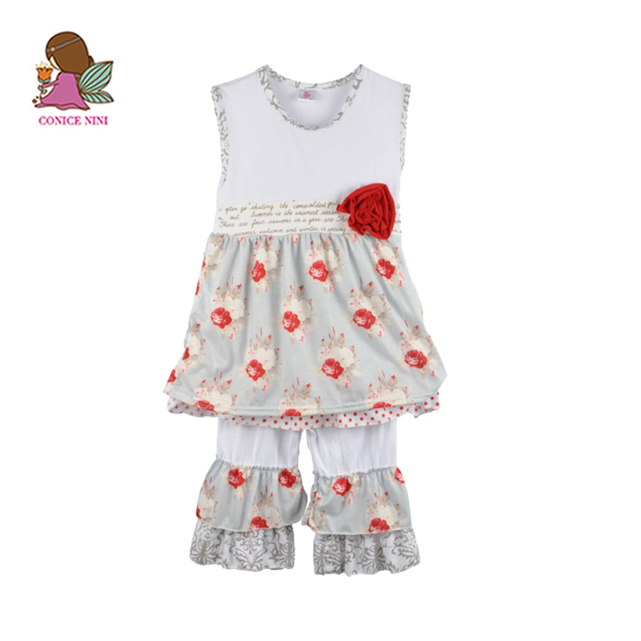 Wholesale Baby Girl Boutique Dress With Floral Ruffle Pants Shorts Kids Summer Cotton Knitted Print Outfits S120 ems dhl free shipping 2017 new kids summer girl mask owl cat owlette cotton cloak dress wholesale
