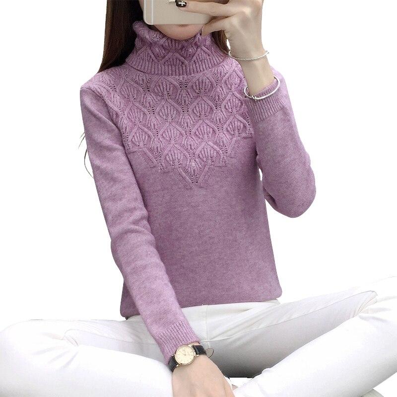 Pullover Sweater Jumper Turtleneck Winter Long-Sleeve Elegant Knitted Warm Women Ladies