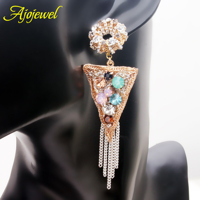 2016 Rushed Pendientes Mujer Ajojewel Luxury Fashion Tassel Earrings For Women Handmade Crystal Exaggerated Big Party Jewelry