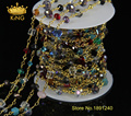 5Meter/Lot Rosary Style Beaded Chain,Gold Plated Wire Wrapped Chain Rosary Chain Rainbow Faceted Glass Beads Jewelry JD016