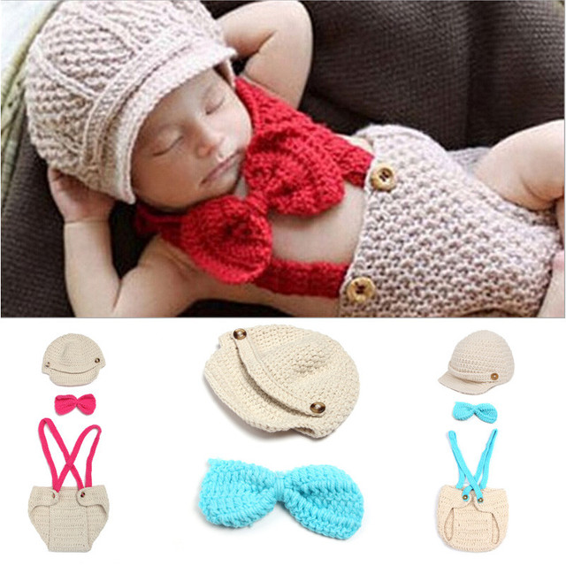 779cd0f849ee8 New Infant Baby Boys Knit Crochet Outfits Newborn Photography Hat Overalls  Pilot Baby Clothing Set Photo