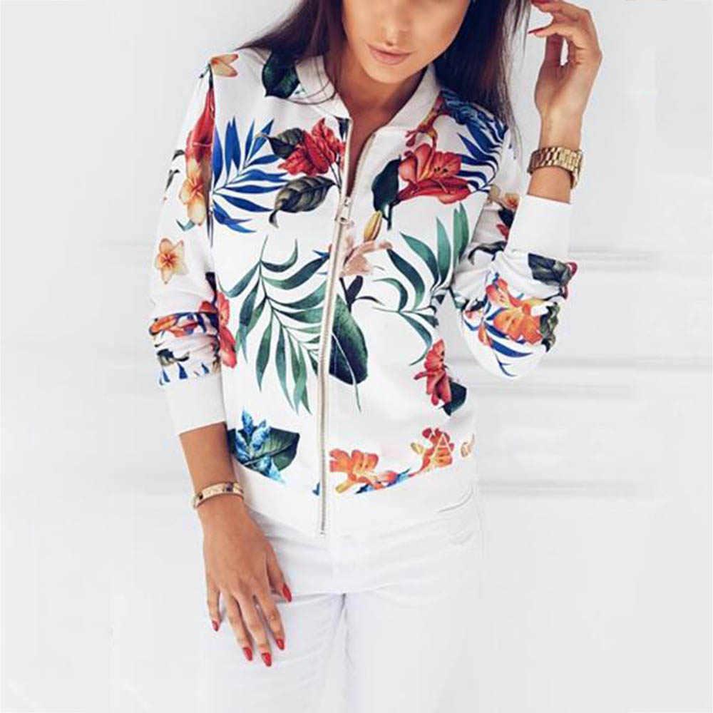 Kadın ceketler çiçek çiçek baskı Retro bayan fermuarlı kısa ince ince bombacı ceket mont moda temel rahat giyim