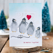 Naifumodo 6pcs/lot Penguins Stamps & Metal Cutting Dies For Scrapbooking DIY Cards Album Decoration New 2019 with dies