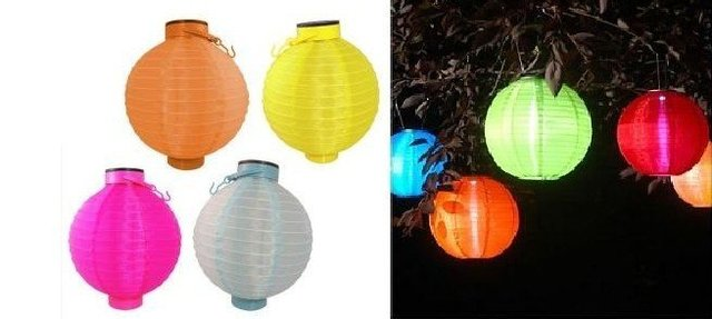 Solar Powered Chinese Lantern Patio Garden Party Festival Decoration Yard  LED Light Lamp