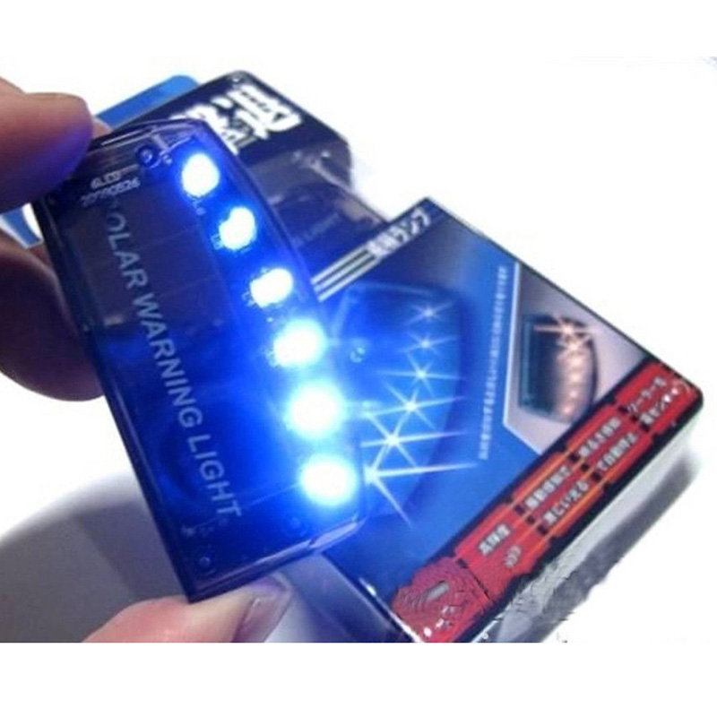 New 1 Pcs Car Solar Charger 6 LED Auto Car Sensor Security Warning Light Car Burglar Alarm Lamp Feee shipping