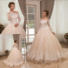 SexeMara Elegant Wedding Dress with Full Sleeves Ball Gowns