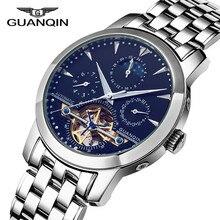 GUANQIN Mechanical Watch Men Sapphire Mirror Tourbillon Automatic Watches Casual Waterproof Mens Wristwatch Relogios Masculino