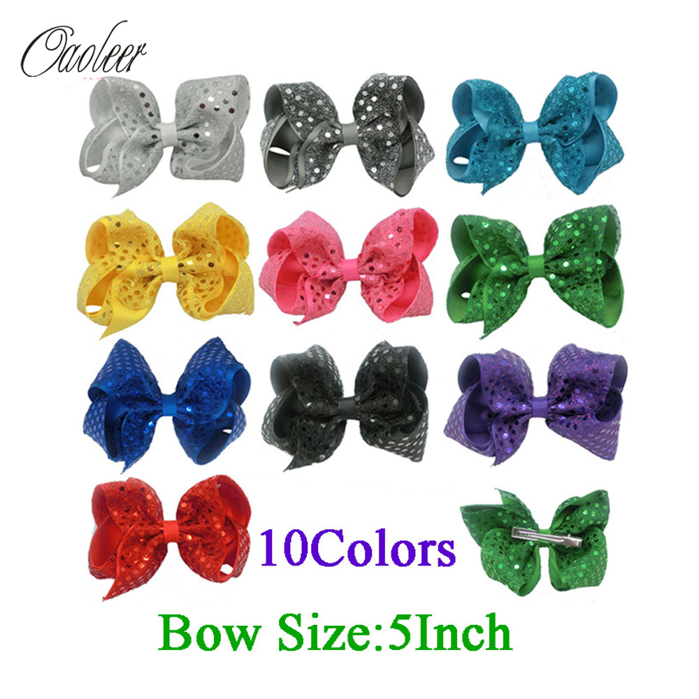 5 Inch Fashion Sequin Hair Bow Hairpins Handmade Girls Hairbows Accessories Boutique Hair Clips For Children 10 Color In Stock pretty girls boutique shining glitter bow hair bands for dance party children toddler hair accessories