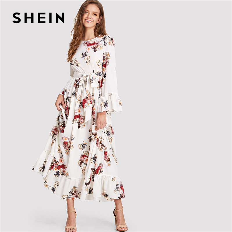 SHEIN Multicolor Vacation Boho Bohemian Beach Floral Print Round Neck Long Sleeve Ruffle Belted Summer Maxi Dress For Women
