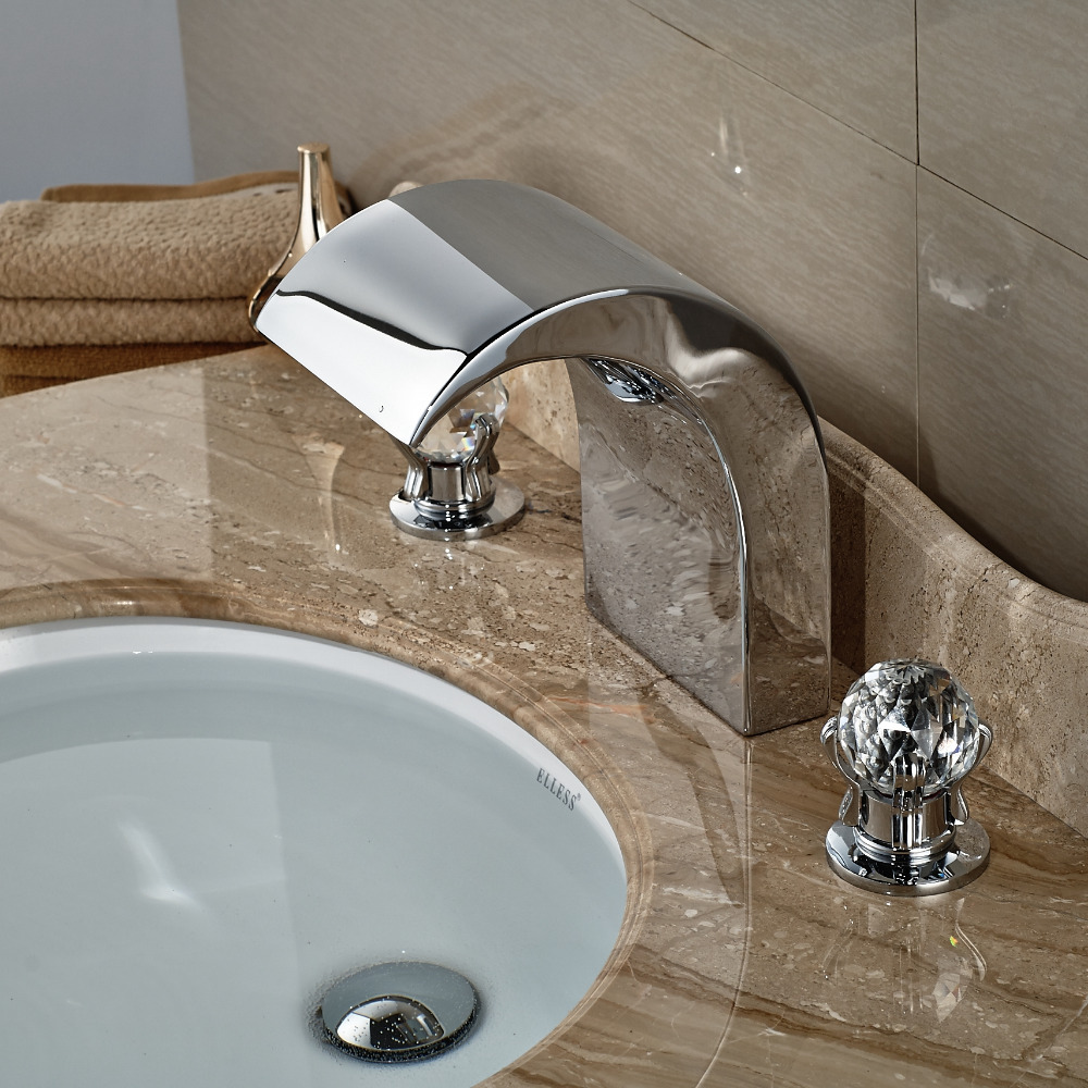 Wholesale And Retail Widespread Bathroom Tub Faucet Waterfall Spout ...