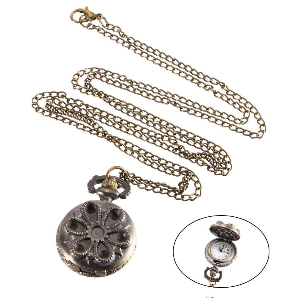 Vintage Pocket Watch Bronze Color Quartz Watch Cool Chain Hollow Flower Watches LL@17